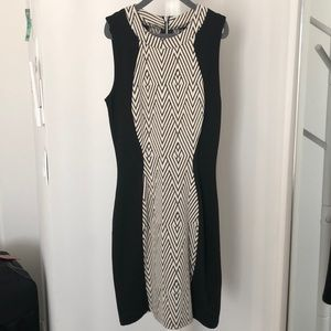 H&M black and cream pattern fitted dress